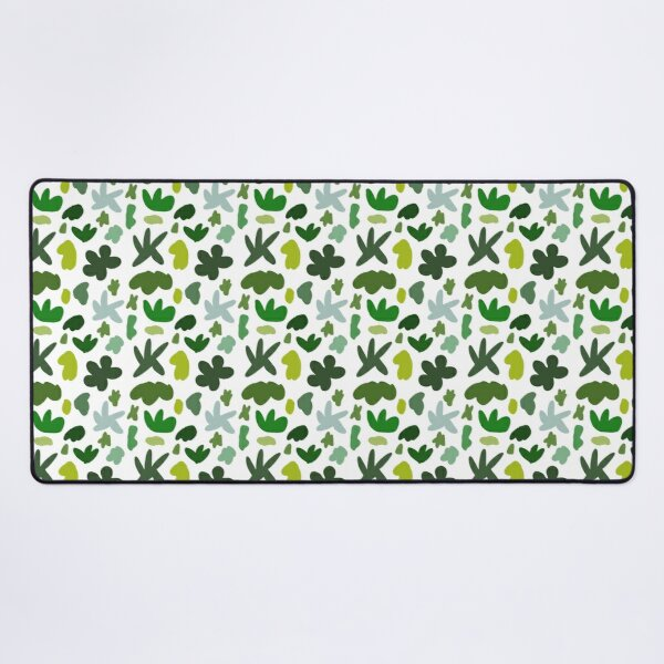 Whimsical Wonky Green Tone Random Shapes Pattern  Desk Mat
