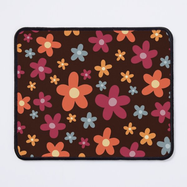 Spring Theme Colorful Red Yellow Blue Orange Tiny Floral Pattern Flowers on Dark Brown Background  Mouse Pad