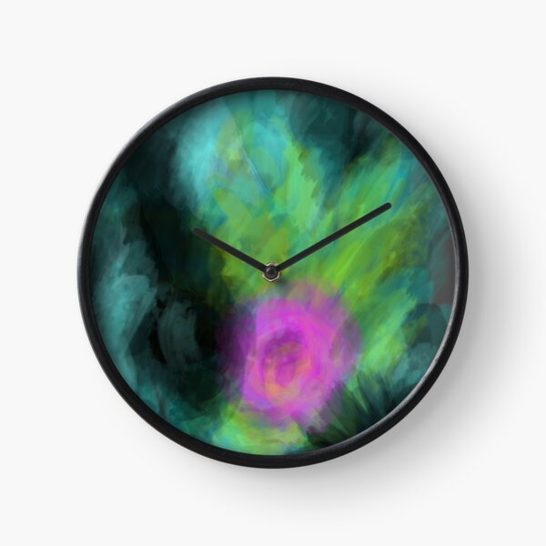 Modern Dark Smoky Abstract Painting in Black, Pink and Green Clock