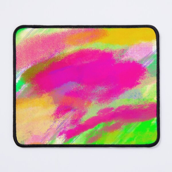Modern Abstract Colorful Splashed Pink Green Purple Yellow Watercolor Effect  Lines  Mouse Pad