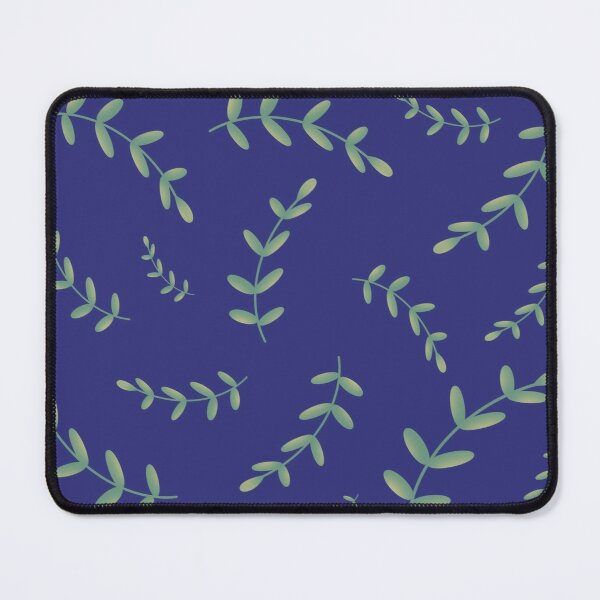 Elegant Spring Theme Green Yellow Plant Leaves Branch Seamless Pattern on Navy Blue  Mouse Pad