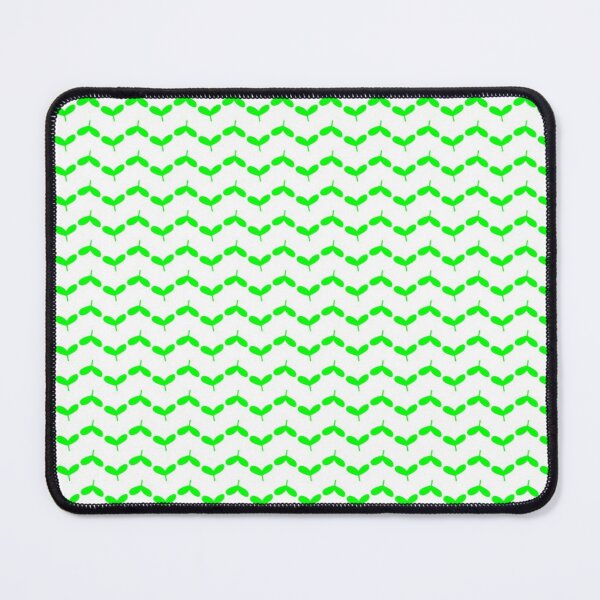 Spring Theme Green Plant Bud Leaf Pattern on White Mouse Pad