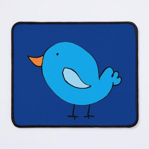 Cute Little Blue Bird Cartoon Illustration Mouse Pad