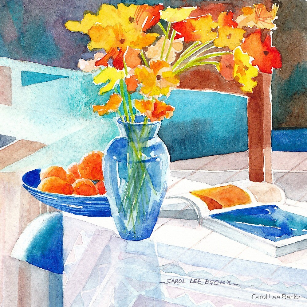 Poppies in a Blue Vase by Carol Lee Beckx