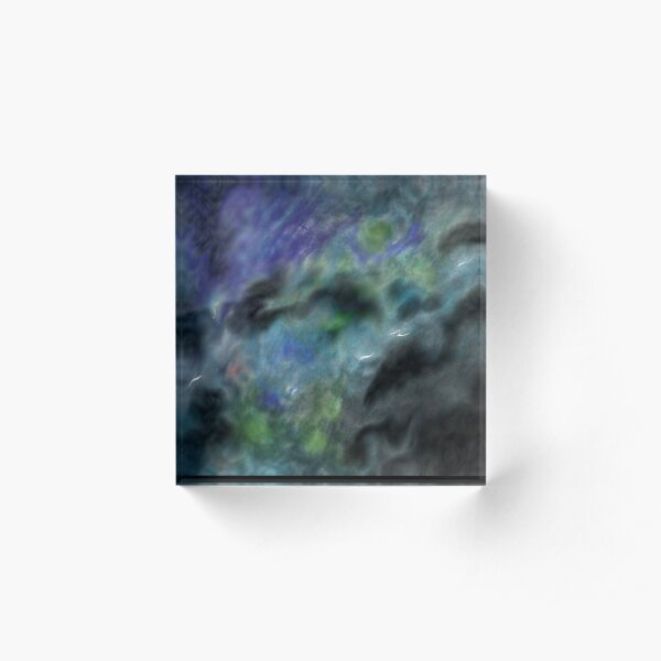 Dark Clouds Abstract Painting in Black, Blue and Green Acrylic Block