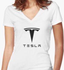 Tesla Motors Women's Fitted V-Neck T-Shirt