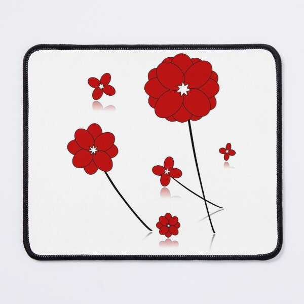 Red Flowers, Ornamental Pattern With Red Color, endless pattern Mouse Pad