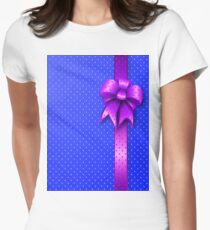 Purple Present Bow Womens Fitted T-Shirt