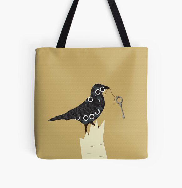 Whimsical Crow With Key All Over Print Tote Bag