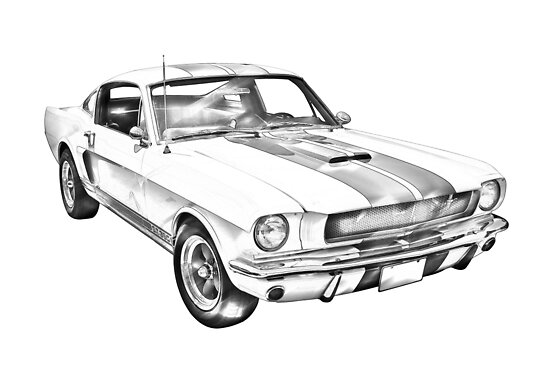 u0026quot 1965 gt350 mustang muscle car illustration u0026quot  poster by kwjphotoart