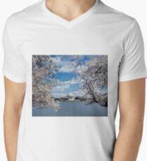 Thomas Jefferson Memorial with Cherry Blossoms Men's V-Neck T-Shirt