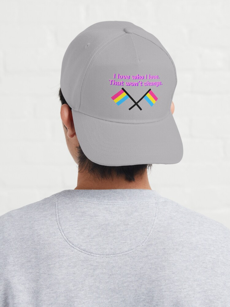 Alternate view of I Love Who I Love - Pansexual Flag Design Cap