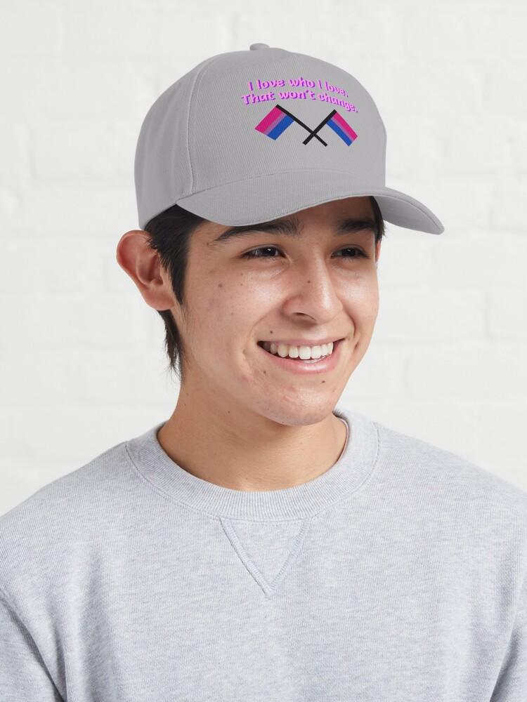 Alternate view of I Love Who I Love - Bisexual Flag Design Cap