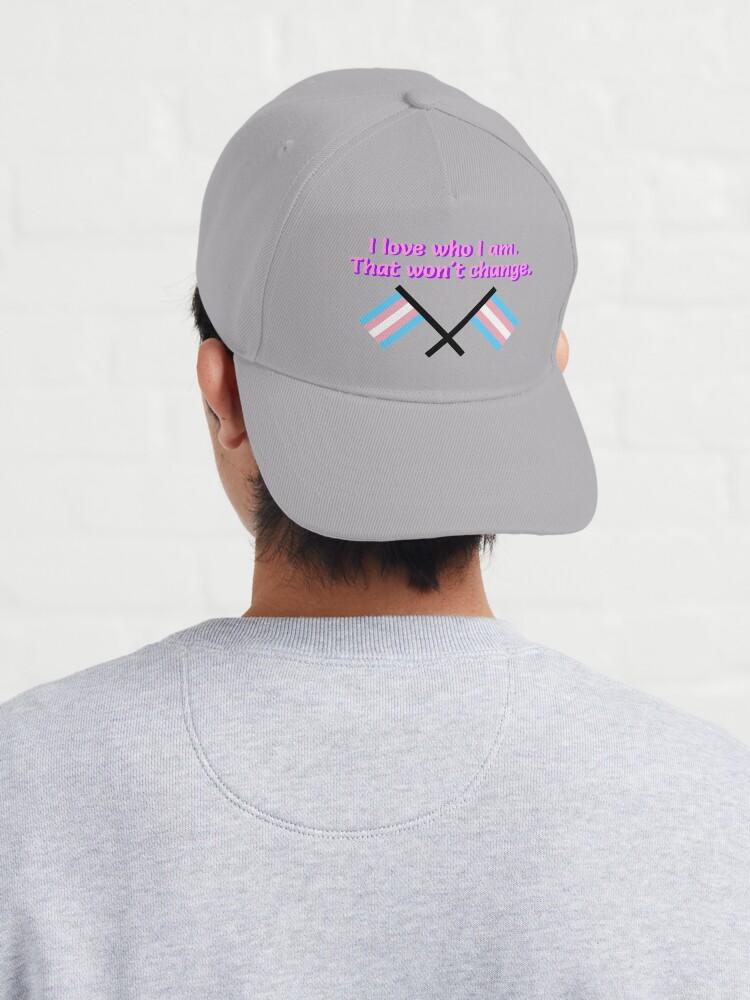 Alternate view of I Love Who I Am. - Trans Flag Design Cap