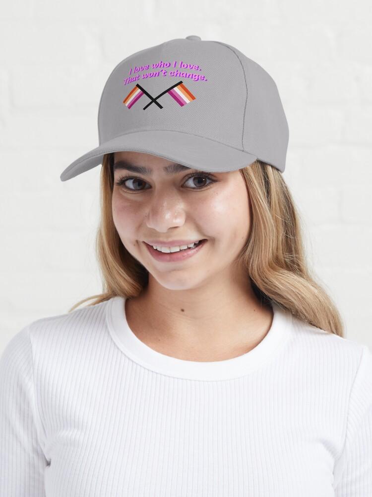Alternate view of I Love Who I Love - Lesbian Flag Design Cap