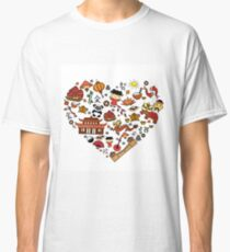 Chinese cartoon elements in heart shape Classic T-Shirt
