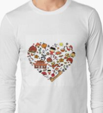 Chinese cartoon elements in heart shape T-Shirt