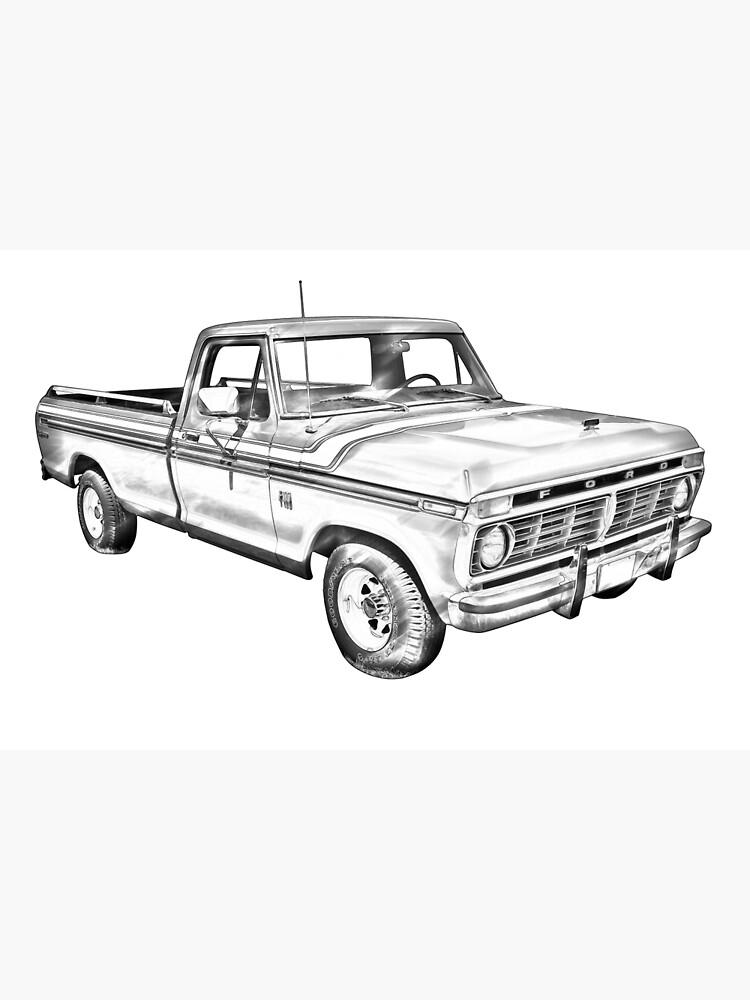 1975 Ford F100 Explorer Pickup Truck Illustrarion Photographic