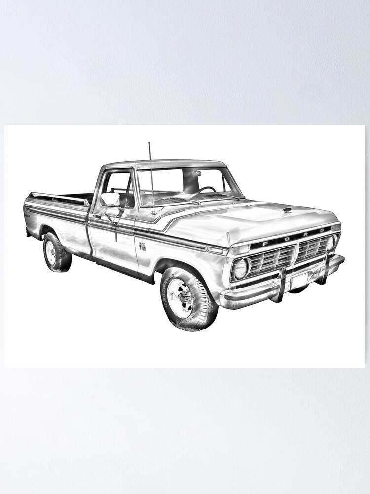1956 Ford F-100 Advertising Poster Beautiful Vintage Art