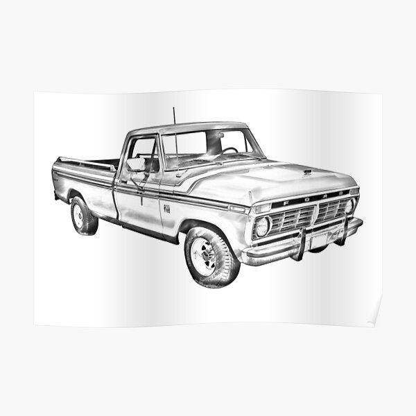 1975 Ford F100 Explorer Pickup Truck Illustrarion Poster