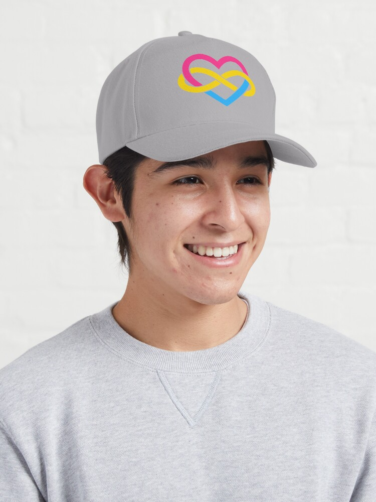Alternate view of Pansexual Polyamory Infinity Heart (White) Cap