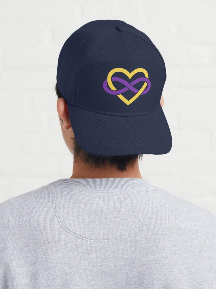 Alternate view of Intersex Polyamory Infinity Heart (Black) Cap