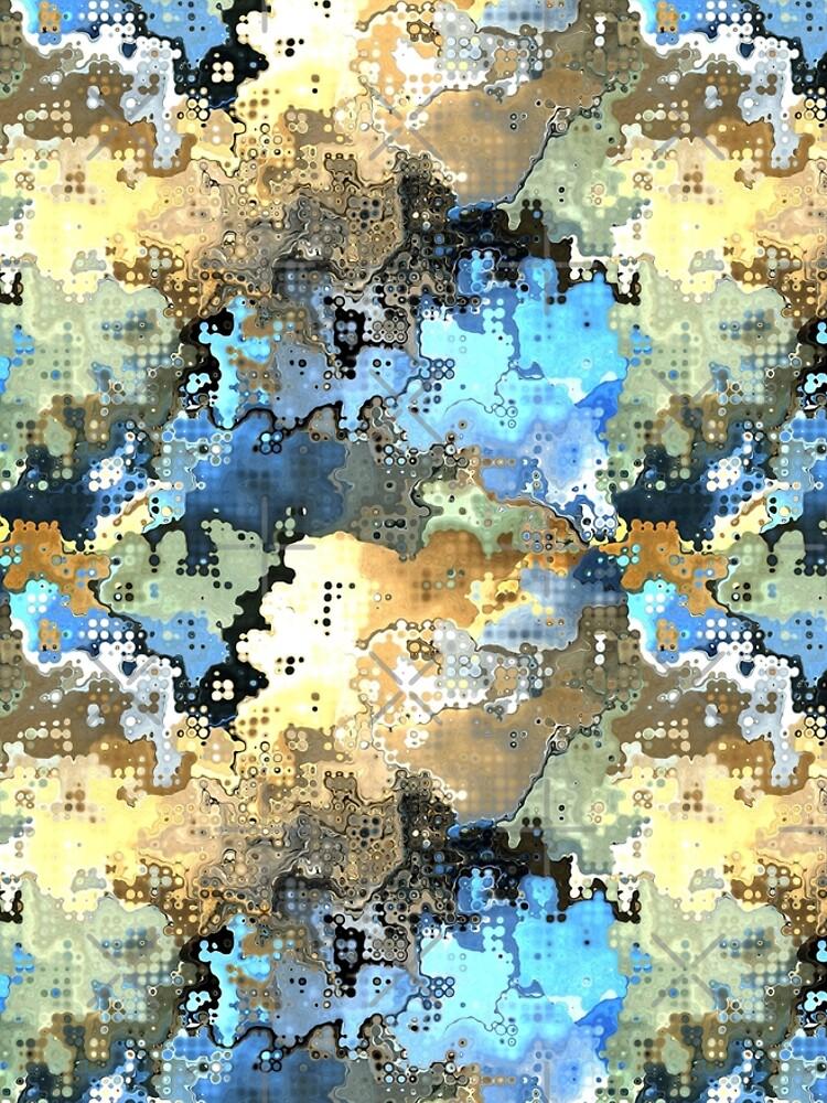 Golden Blue Abstract by perkinsdesigns