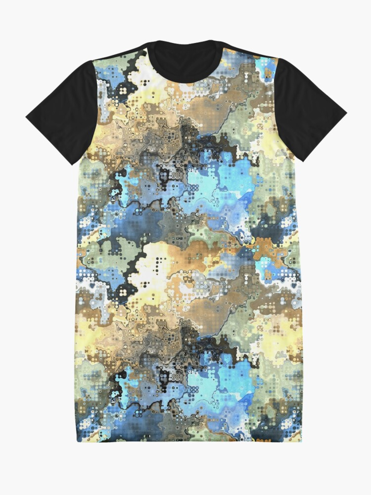 Alternate view of Golden Blue Abstract Graphic T-Shirt Dress