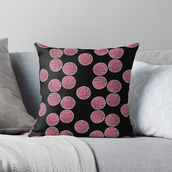 Pink Concha Pan Dulce Cookie Sticker Pack Pattern Throw Pillow