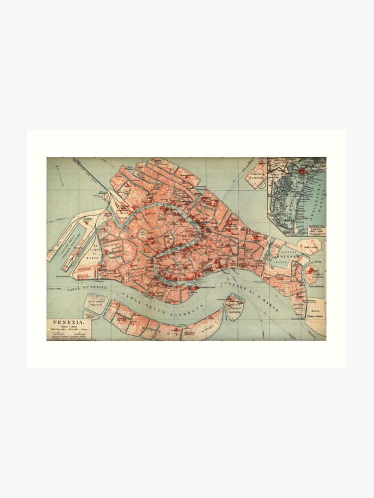 image relating to Printable Map of Venice titled Traditional Map of Venice Italy (1920) Artwork Print
