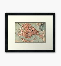 Vintage Map of Venice Italy (1920) Framed Print