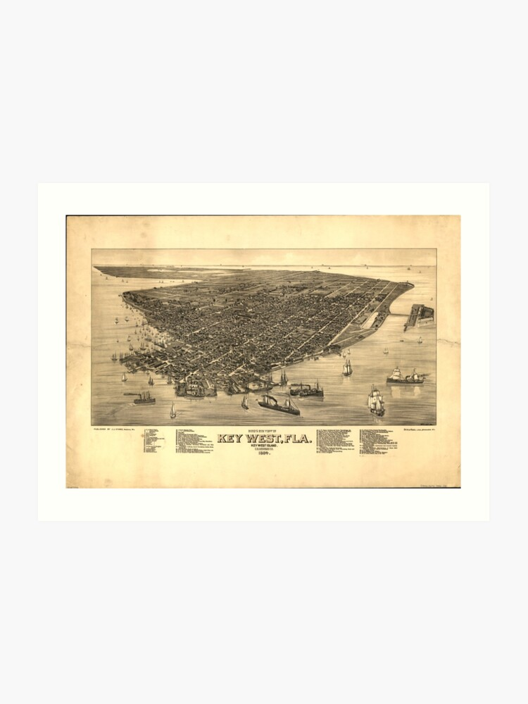 photo about Printable Map of Key West referred to as Typical Pictorial Map of Primary West FL (1884) Artwork Print