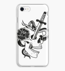 skull with dagger, snake and rose iPhone Case/Skin