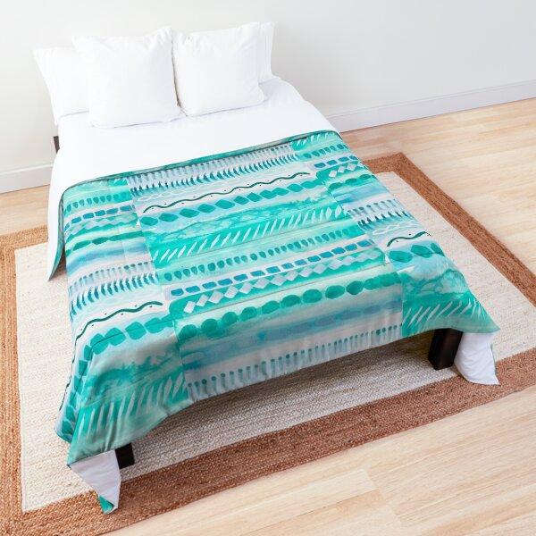 Aqua Watercolor Practice Comforter