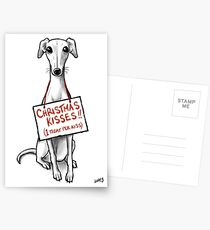 Christmas Whippet Snogs Postcards