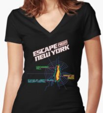 ESCAPE FROM NEW YORK - ISLAND MAP (1) Women's Fitted V-Neck T-Shirt