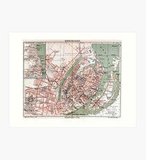 Vintage Map of Copenhagen Denmark (1888) Art Print