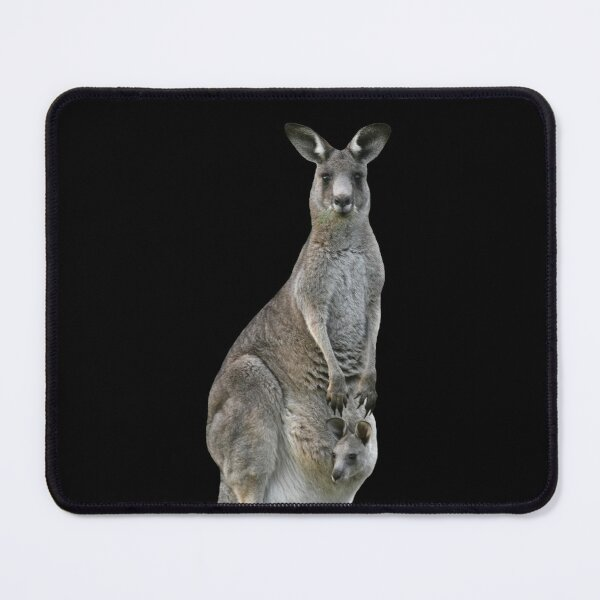 Kangaroo with joey looking out of pouch 2 Mouse Pad