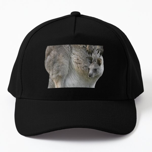 Kangaroo with joey looking out of pouch 2 Baseball Cap
