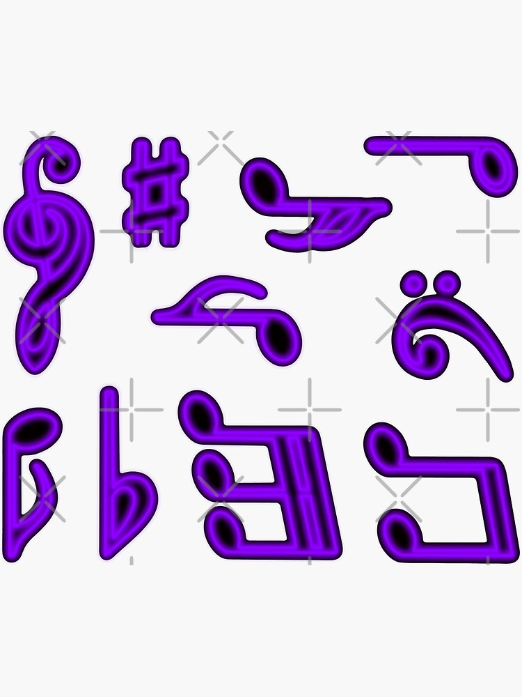Purple Glow Music Notes Sticker Pack Pattern by that5280lady