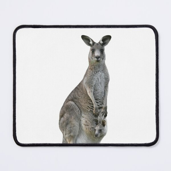 Kangaroo with joey looking out of pouch 3 Mouse Pad