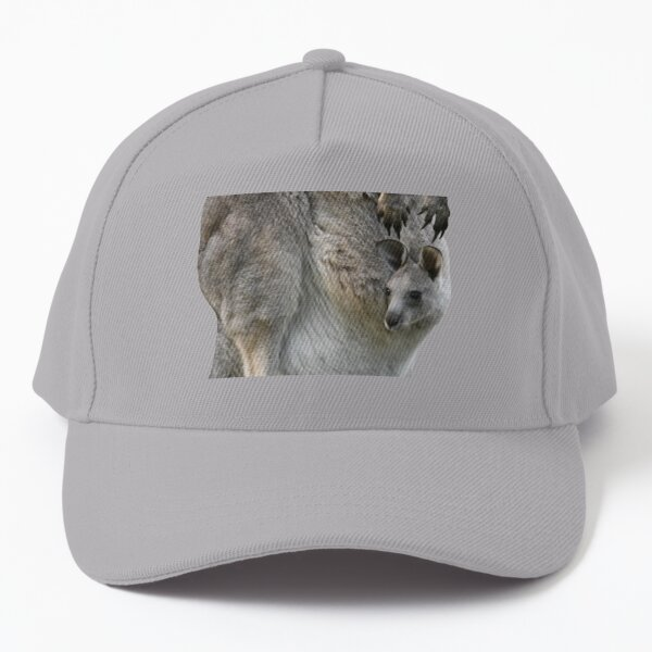Kangaroo with joey looking out of pouch 3 Baseball Cap
