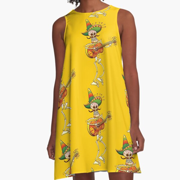 Mexican Skeleton Playing Guitar A-Line Dress