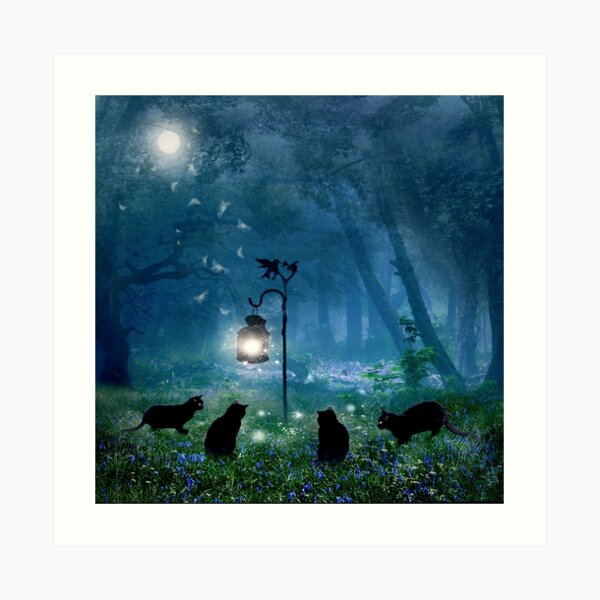 The Witches Cats (square) Art Print