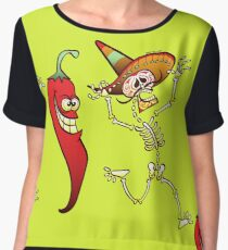 Hot Chili Pepper Nightmare for a Mexican Skeleton Chiffon Top