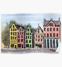 Amsterdam Street Scene - Watercolor Pen and Wash Poster