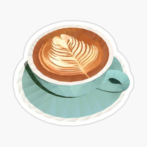 Coffee with Latte Art Polygon Art Sticker