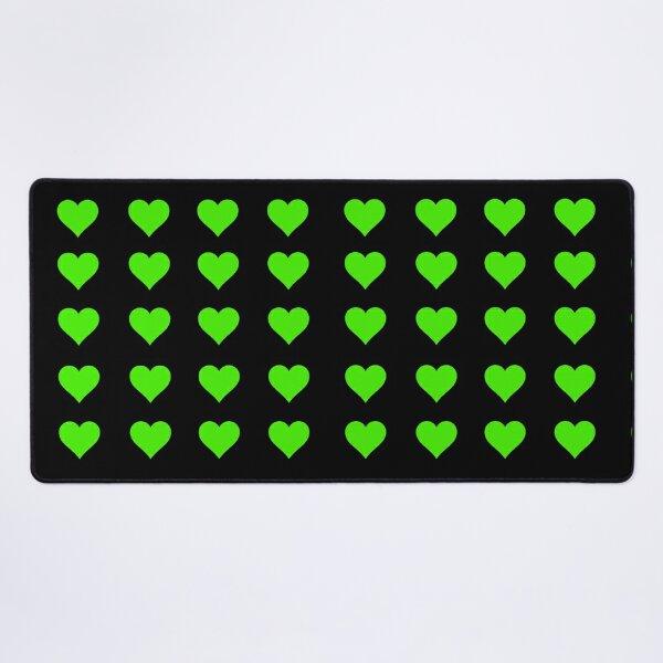 Black and Green heart pattern Desk Mat