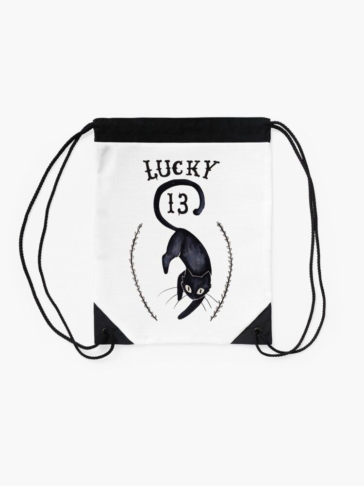 Alternate view of Lucky 13 - Cat Drawstring Bag