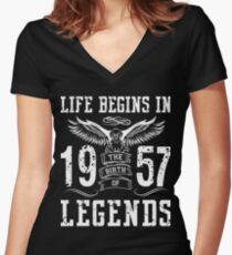 Life Begins In 1957 Birth Legends Women's Fitted V-Neck T-Shirt